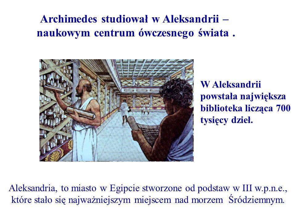 Archimedes studiował w Aleksandrii –