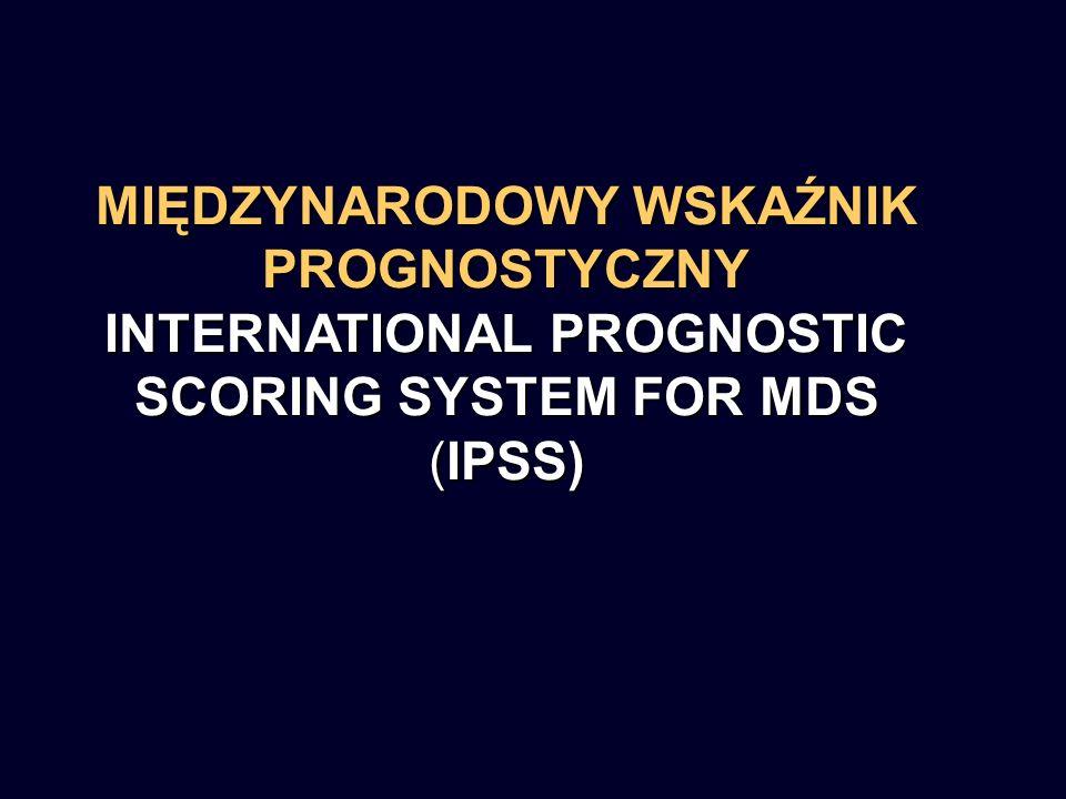 MIĘDZYNARODOWY WSKAŹNIK PROGNOSTYCZNY INTERNATIONAL PROGNOSTIC SCORING SYSTEM FOR MDS (IPSS)