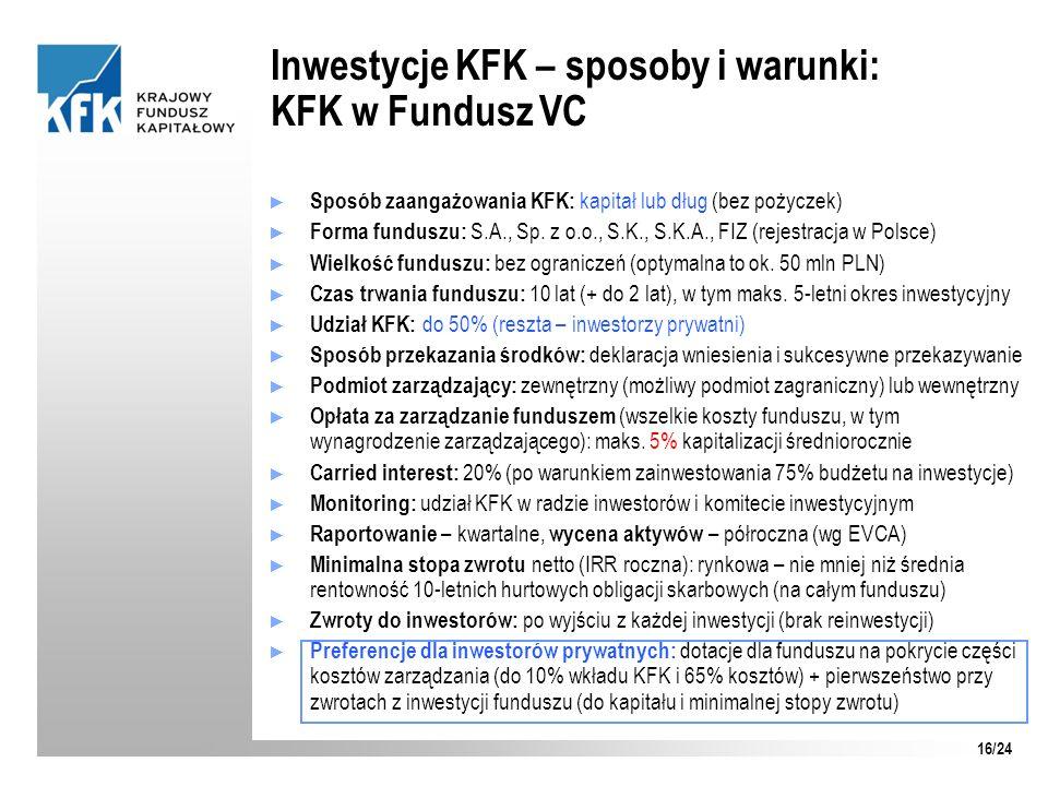 Inwestycje KFK – sposoby i warunki: KFK w Fundusz VC