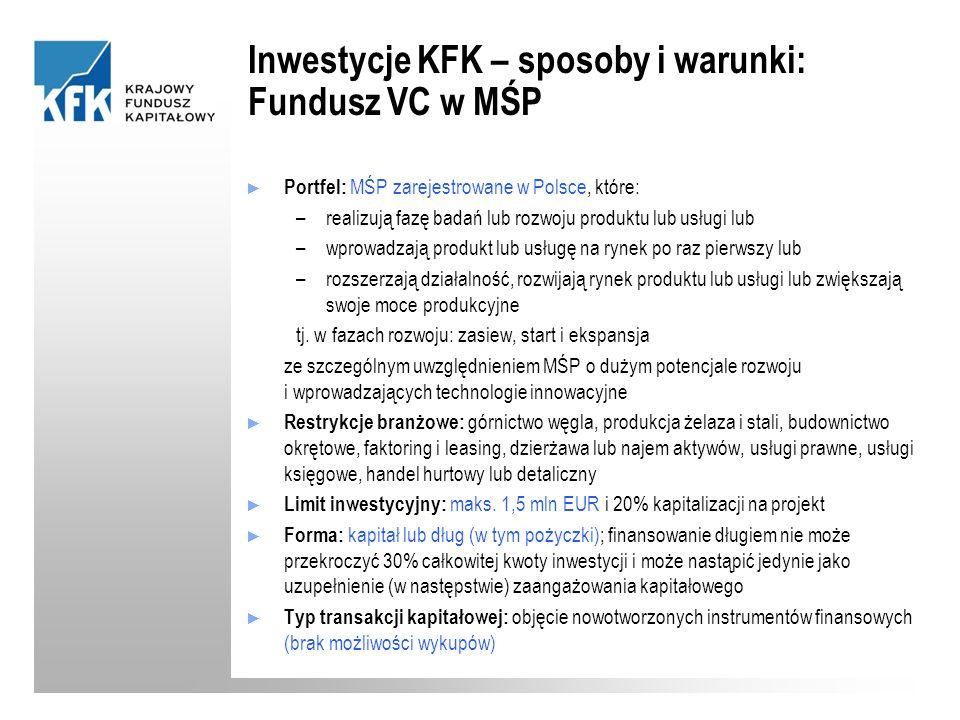 Inwestycje KFK – sposoby i warunki: Fundusz VC w MŚP