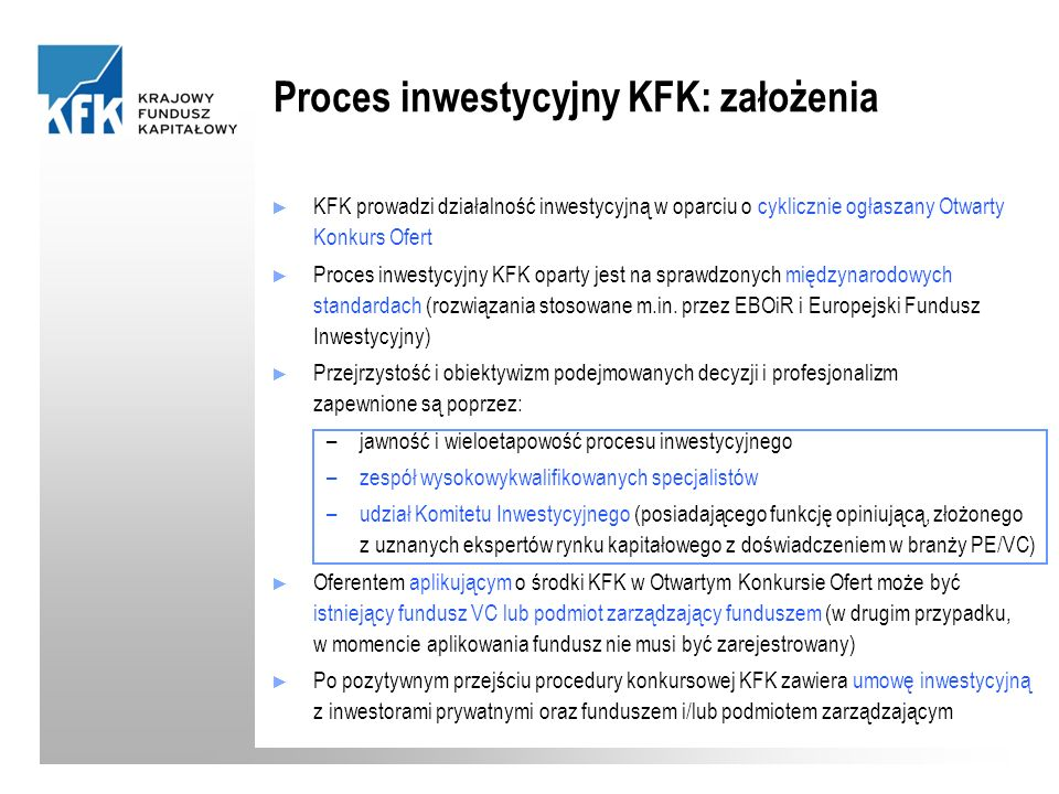 Proces inwestycyjny KFK: założenia