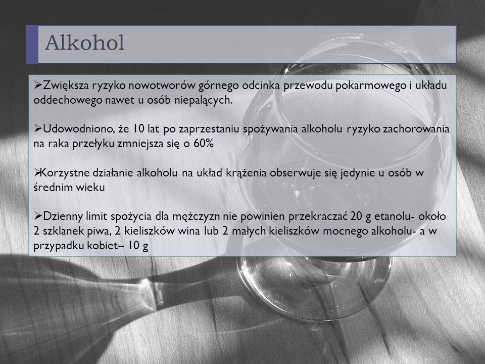 Alkohol Zwiększa ryzyko nowotworów górnego odcinka przewodu pokarmowego i układu oddechowego nawet u osób niepalących.