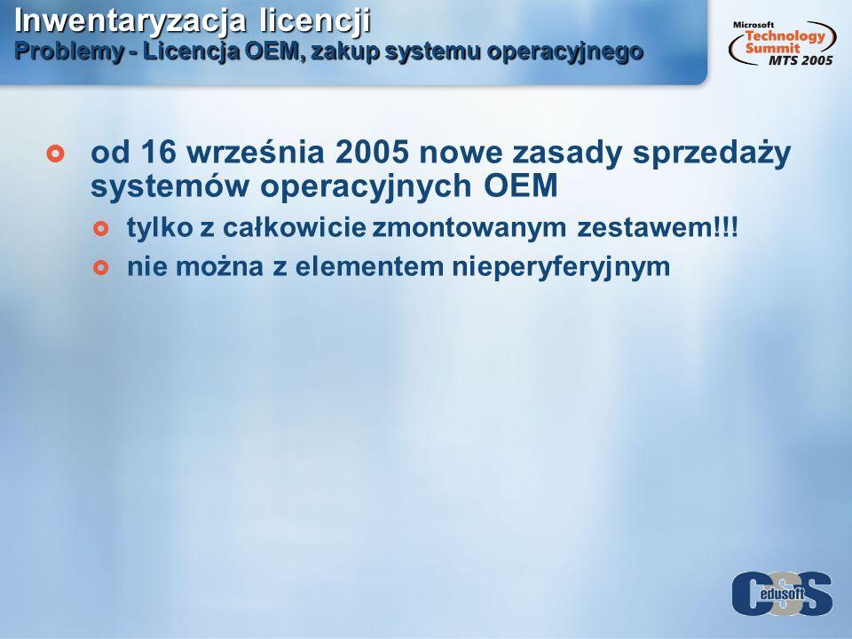 od 16 września 2005 nowe zasady sprzedaży systemów operacyjnych OEM