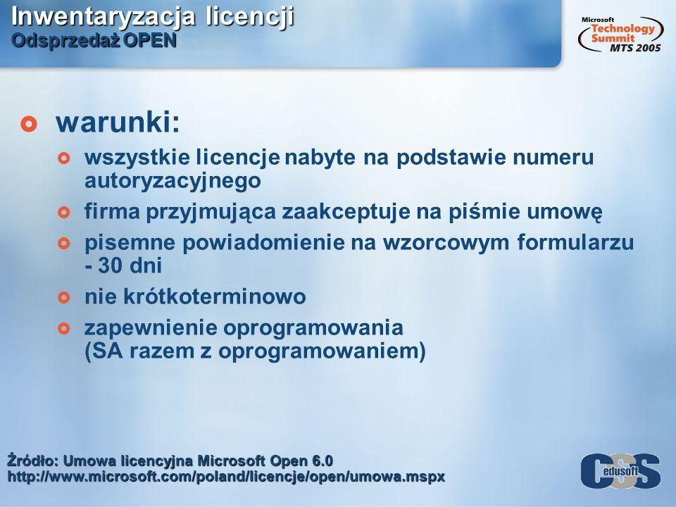 Inwentaryzacja licencji Odsprzedaż OPEN
