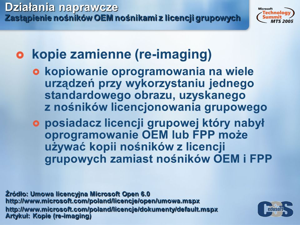 kopie zamienne (re-imaging)