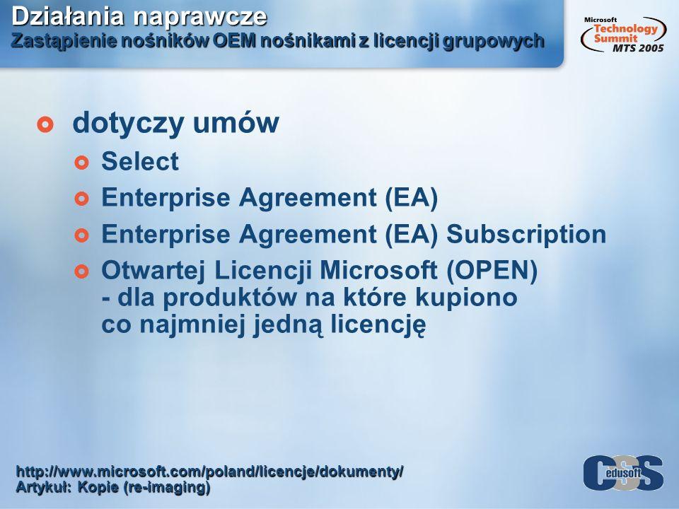 Działania naprawcze Zastąpienie nośników OEM nośnikami z licencji grupowych