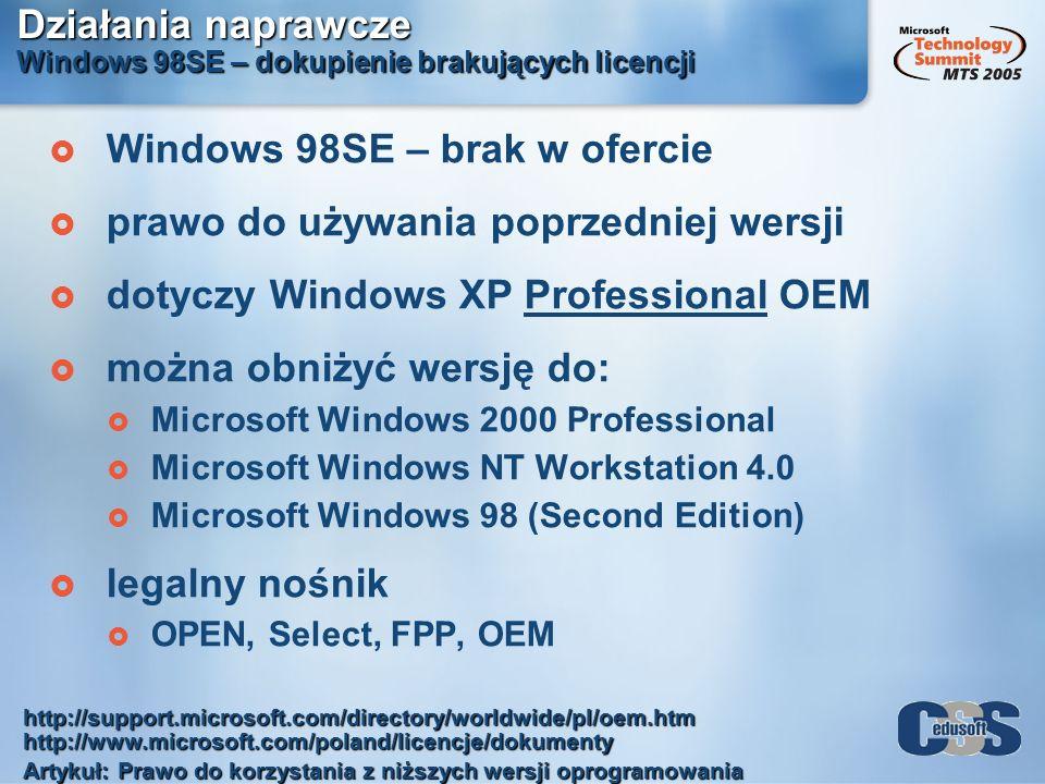 Działania naprawcze Windows 98SE – dokupienie brakujących licencji