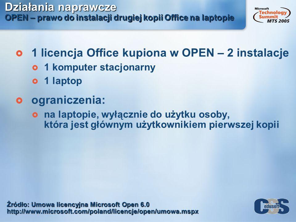 1 licencja Office kupiona w OPEN – 2 instalacje
