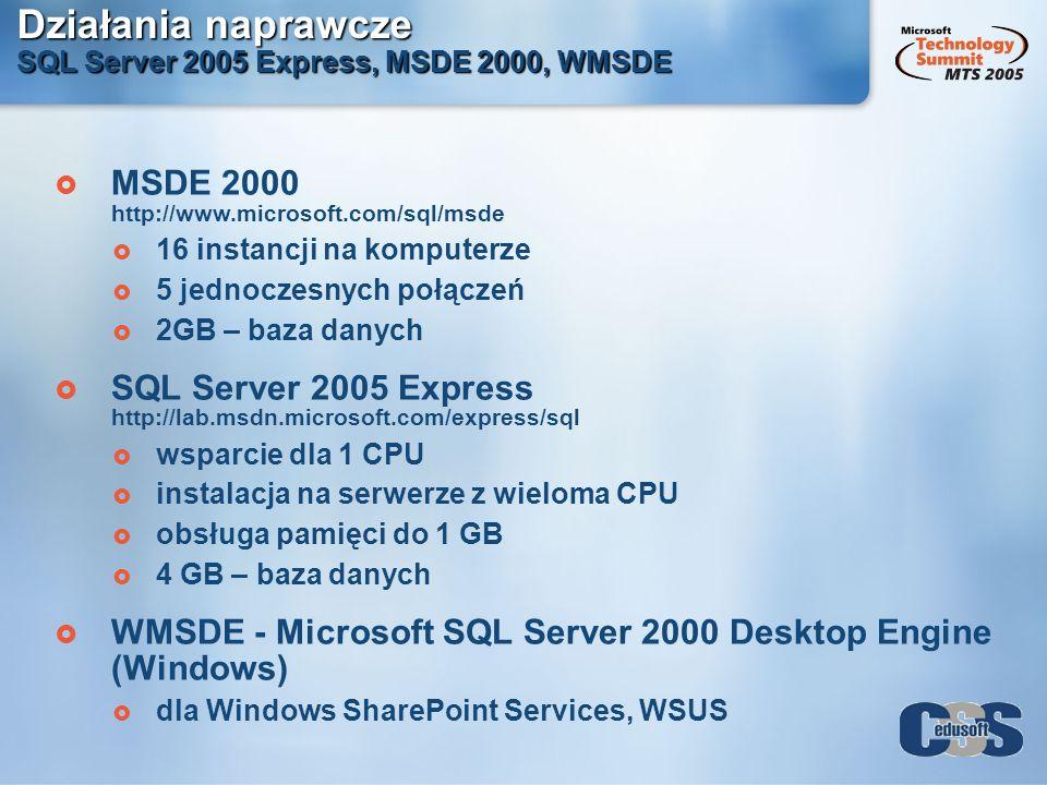 Działania naprawcze SQL Server 2005 Express, MSDE 2000, WMSDE