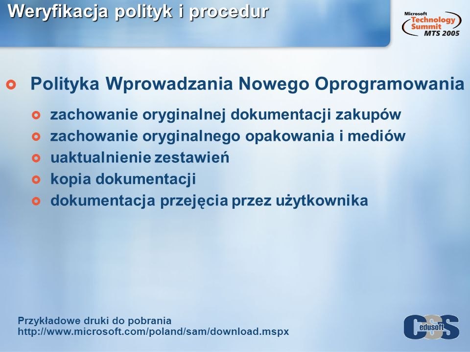 Weryfikacja polityk i procedur