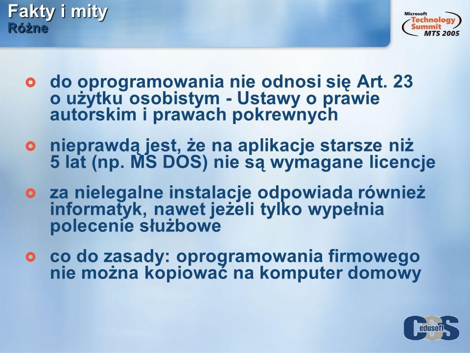 Fakty i mity Różne do oprogramowania nie odnosi się Art. 23 o użytku osobistym - Ustawy o prawie autorskim i prawach pokrewnych.