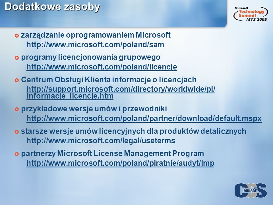 Dodatkowe zasoby zarządzanie oprogramowaniem Microsoft