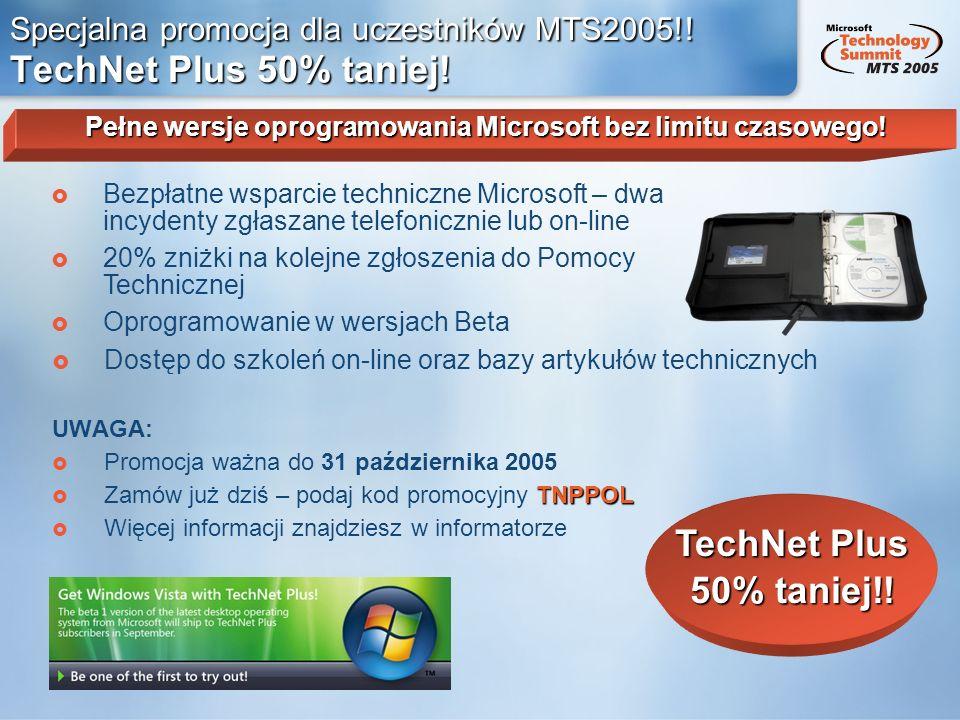 Specjalna promocja dla uczestników MTS2005!! TechNet Plus 50% taniej!
