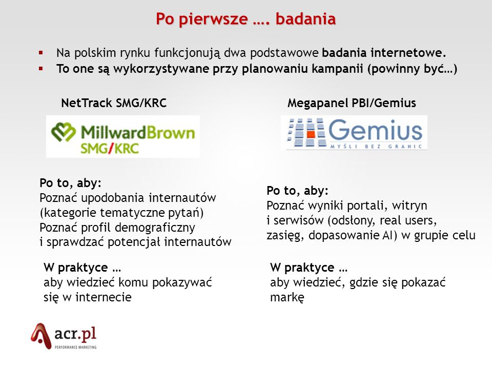 Po pierwsze …. badaniaNa polskim rynku funkcjonują dwa podstawowe badania internetowe.