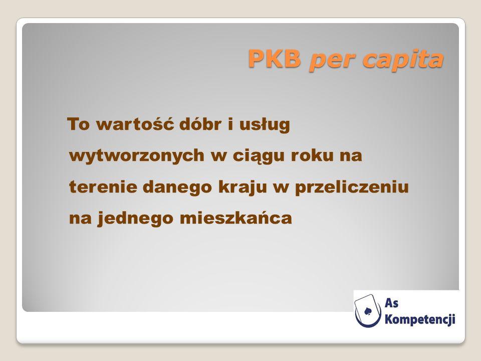 PKB per capita To wartość dóbr i usług wytworzonych w ciągu roku na terenie danego kraju w przeliczeniu na jednego mieszkańca.