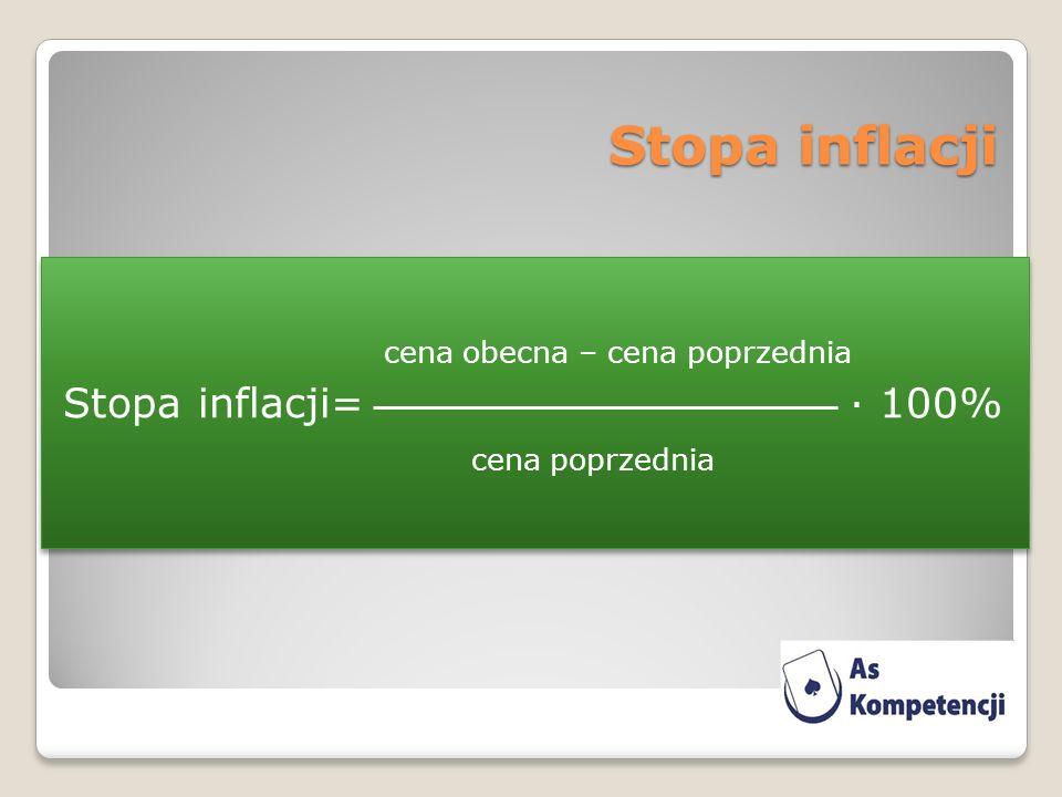 Stopa inflacji cena obecna – cena poprzednia Stopa inflacji= · 100% cena poprzednia
