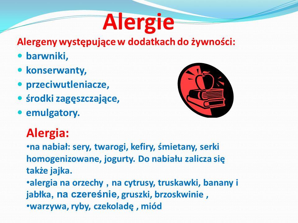 Alergie Alergia: Alergeny występujące w dodatkach do żywności: