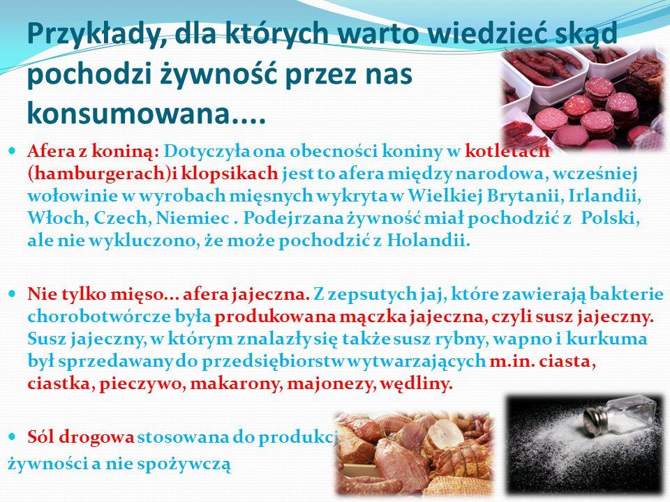 Przykłady, dla których warto wiedzieć skąd pochodzi żywność przez nas konsumowana....