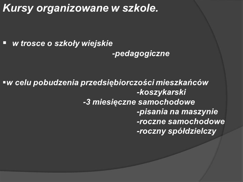 Kursy organizowane w szkole.