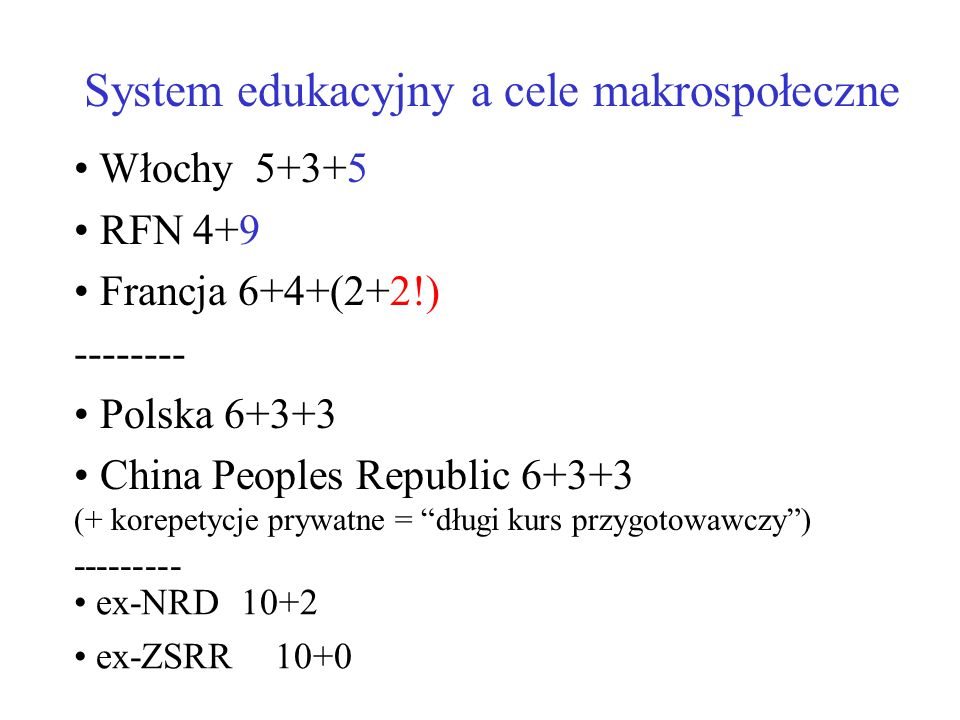 System edukacyjny a cele makrospołeczne