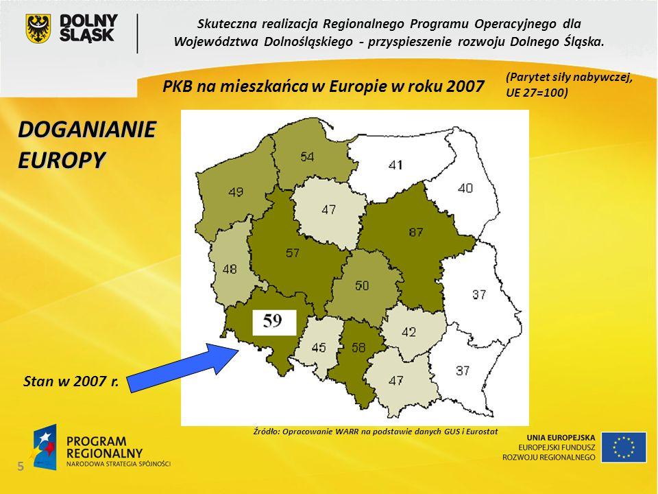 PKB na mieszkańca w Europie w roku 2007