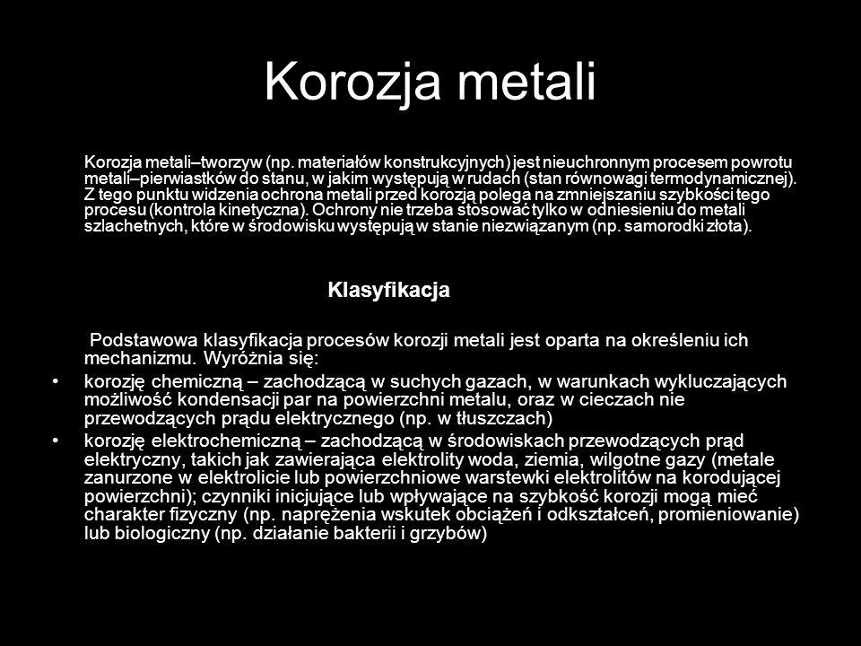 Korozja metali Klasyfikacja