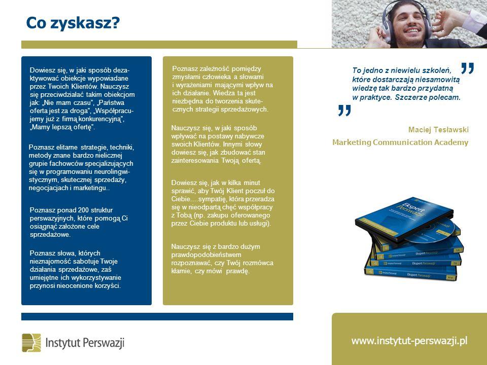 Co zyskasz www.instytut-perswazji.pl