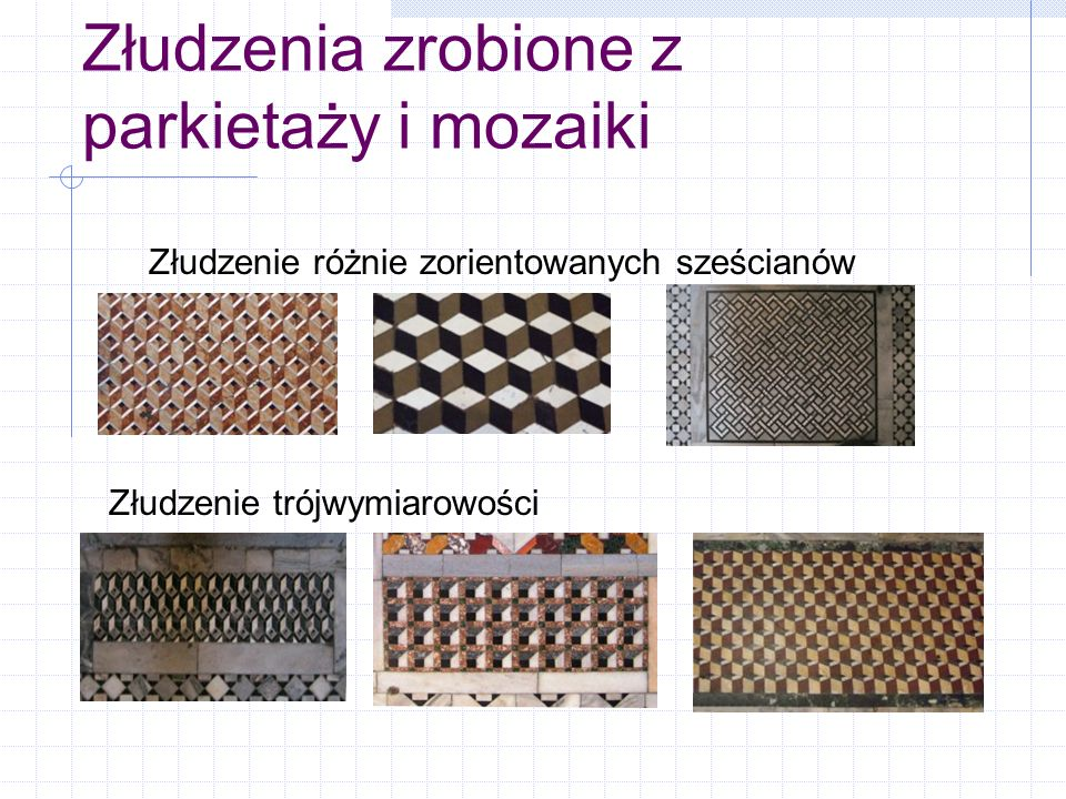Złudzenia zrobione z parkietaży i mozaiki