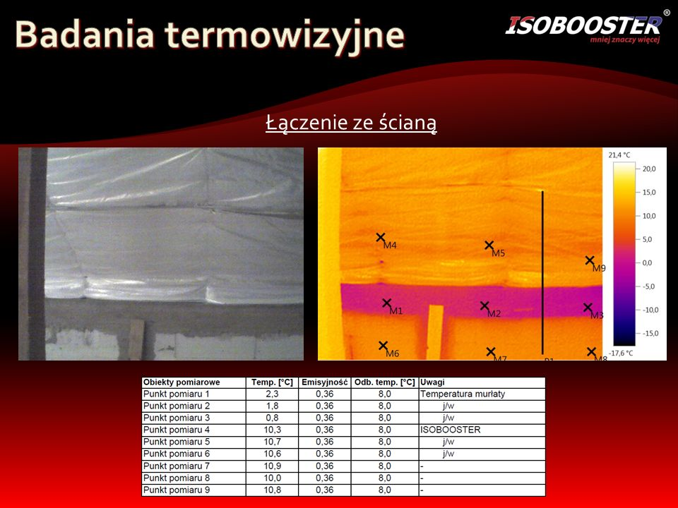 Badania termowizyjne Łączenie ze ścianą
