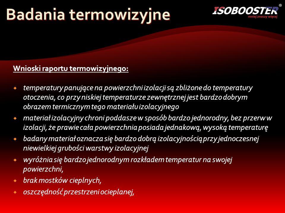 Badania termowizyjne Wnioski raportu termowizyjnego:
