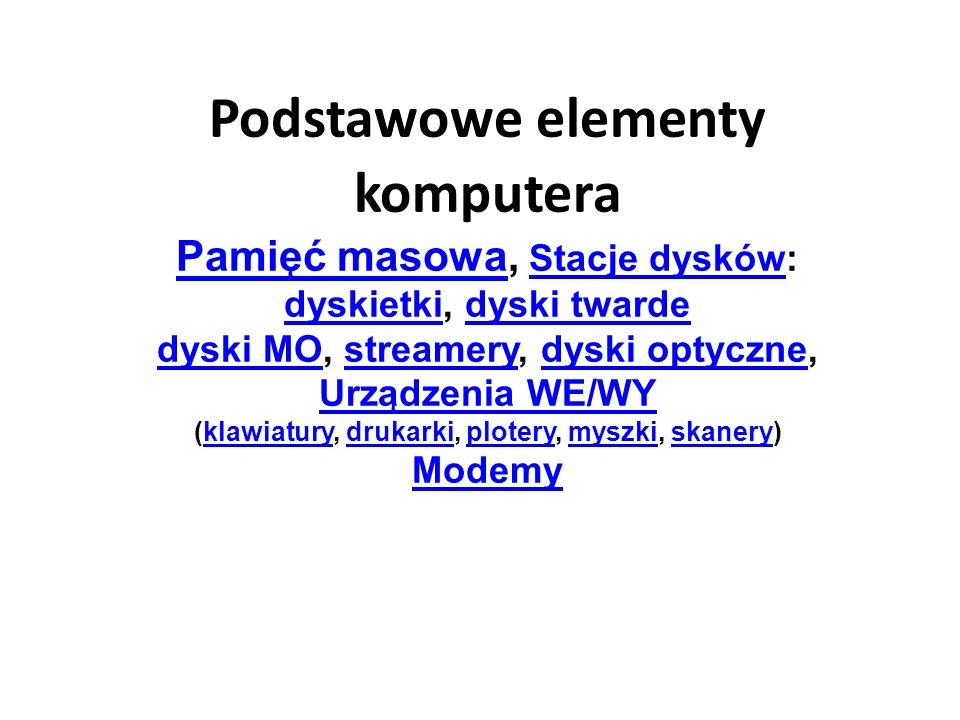 Podstawowe elementy komputera Pamięć masowa, Stacje dysków: dyskietki, dyski twarde dyski MO, streamery, dyski optyczne, Urządzenia WE/WY (klawiatury, drukarki, plotery, myszki, skanery) Modemy