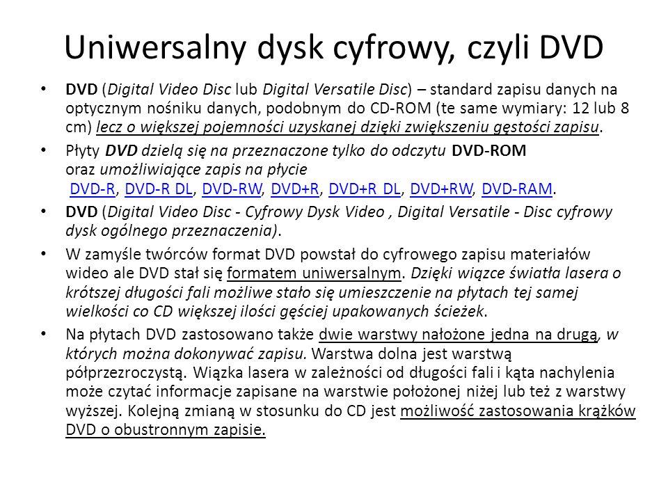 Uniwersalny dysk cyfrowy, czyli DVD