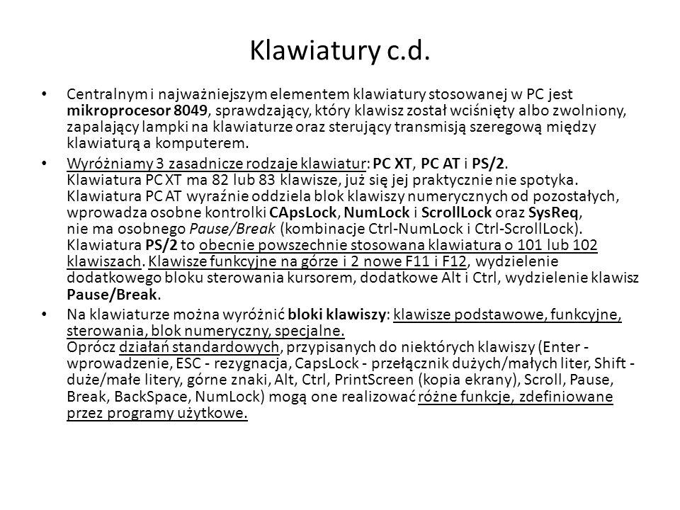 Klawiatury c.d.