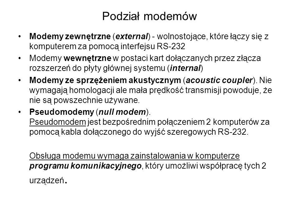Podział modemów Modemy zewnętrzne (external) - wolnostojące, które łączy się z komputerem za pomocą interfejsu RS-232.