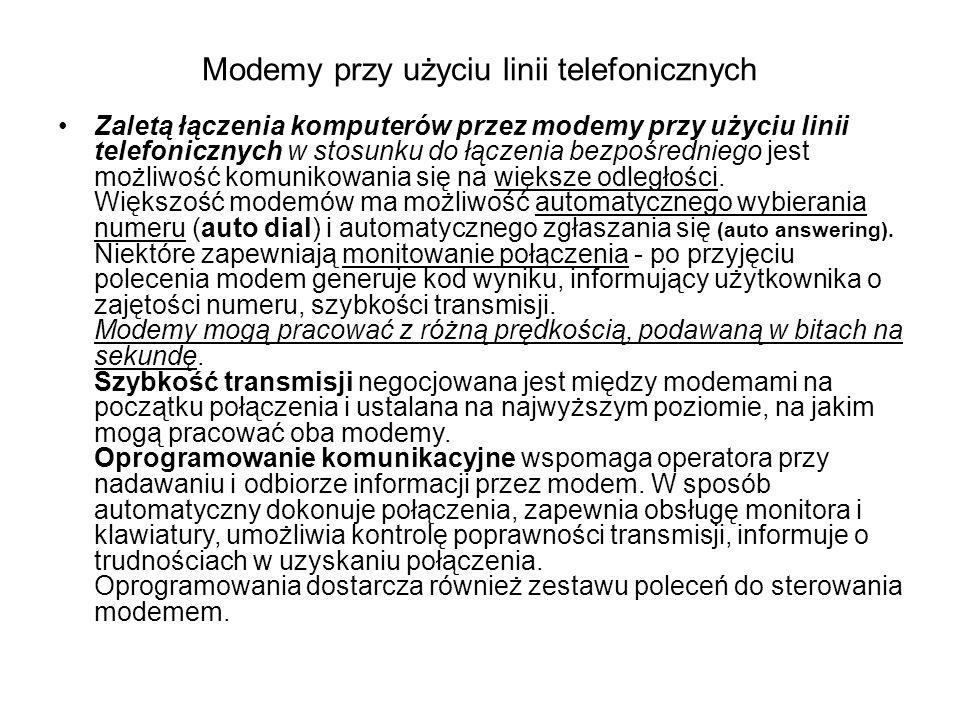 Modemy przy użyciu linii telefonicznych