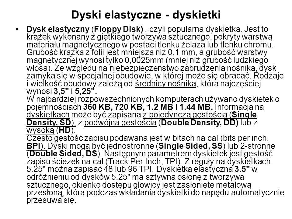 Dyski elastyczne - dyskietki