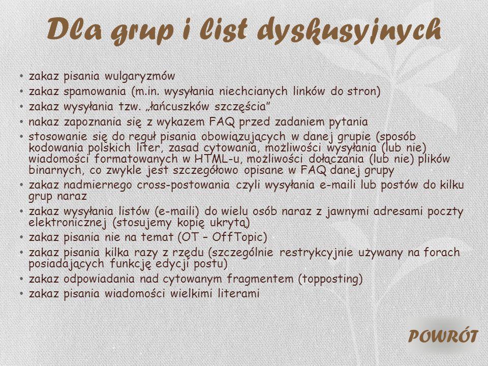Dla grup i list dyskusyjnych