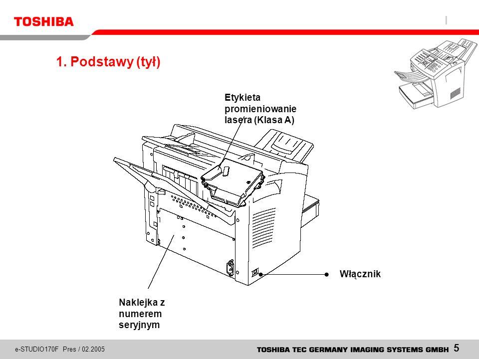 1. Podstawy (tył) Etykieta promieniowanie lasera (Klasa A) Włącznik
