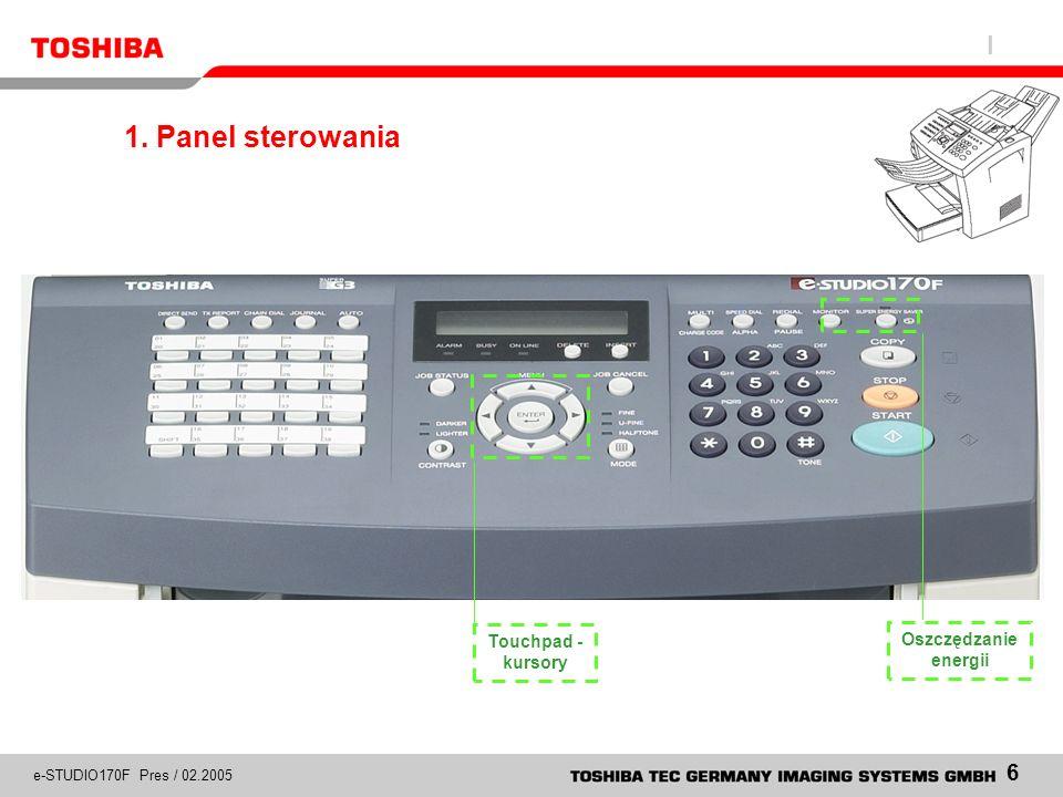 1. Panel sterowania Oszczędzanie energii Touchpad - kursory
