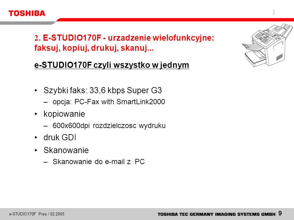 e-STUDIO170F czyli wszystko w jednym Szybki faks: 33,6 kbps Super G3