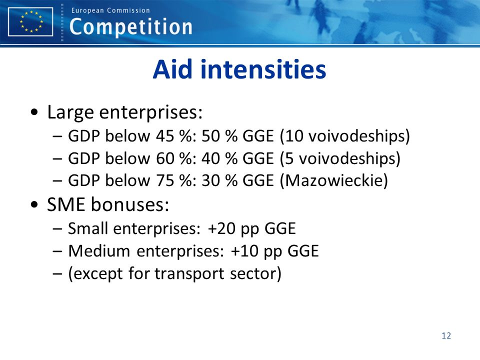 Aid intensities Large enterprises: SME bonuses: