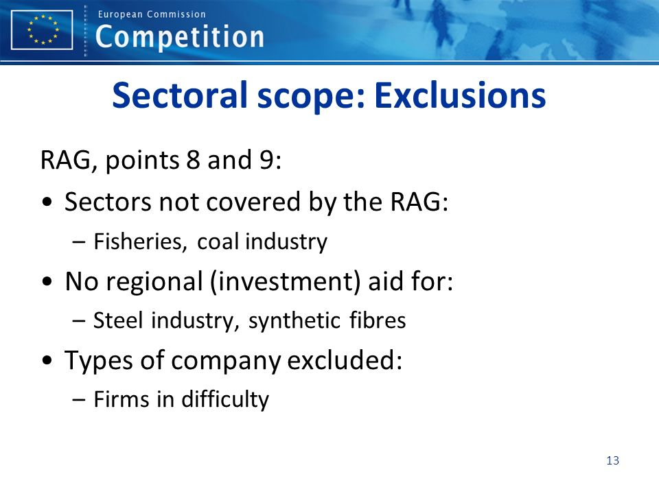 Sectoral scope: Exclusions