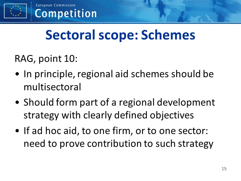 Sectoral scope: Schemes