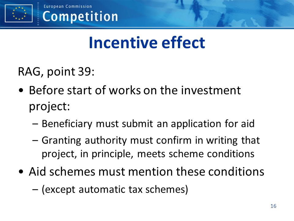 Incentive effect RAG, point 39: