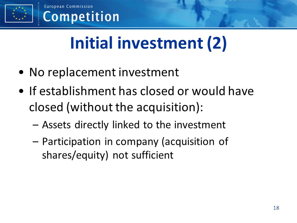 Initial investment (2) No replacement investment