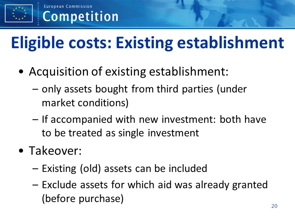 Eligible costs: Existing establishment