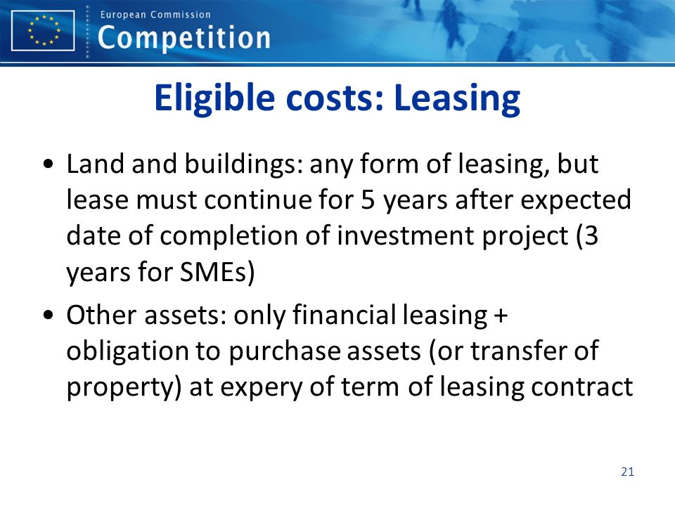 Eligible costs: Leasing
