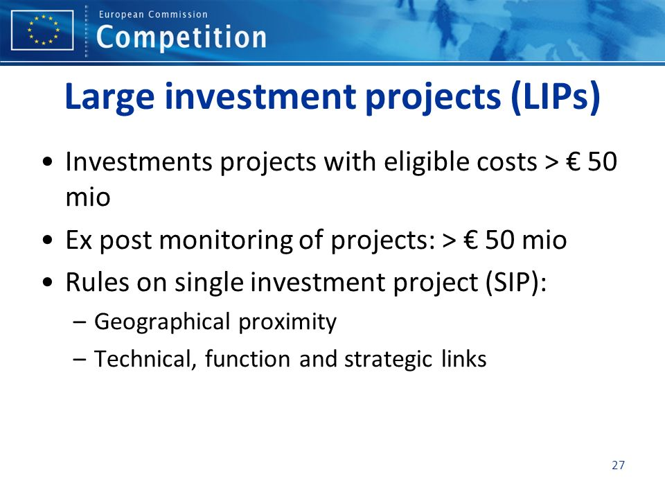 Large investment projects (LIPs)