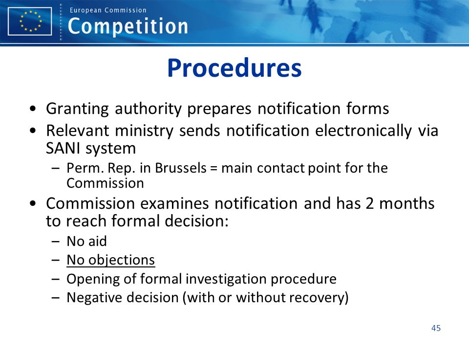 Procedures Granting authority prepares notification forms