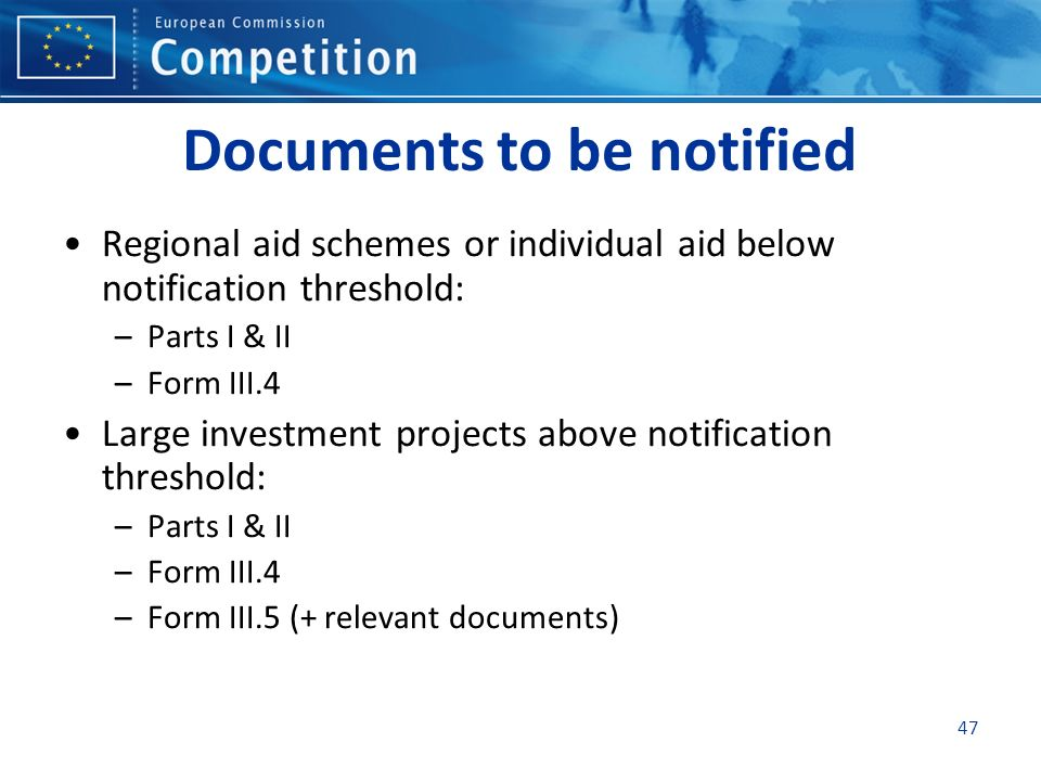 Documents to be notified